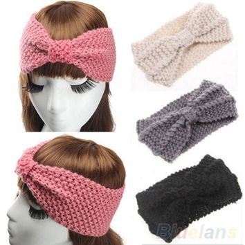 Women Crochet Bow Turban Knitted Head  Hair Band Winter Ear Warmer Headband 2mcw 2vph