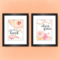 Set of 2 PRINTS, Personalized Flowers & Pearls Nursery Decor, Name Art, First Middle Name Print, Pretty Plus Paper 8x10 PHYSICAL PRINTS