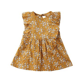 Retro Girl Floral Dress Baby Kids Princess Party Tutu Ginger Yellow Clothes New