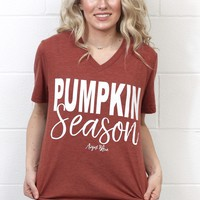 Pumpkin Season Graphic V-neck Tee {Rust}