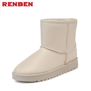 Snow Boots Women Winter pu Leather Mid Calf Boots Warm Australia Botas Nieve Sheepskin Classi