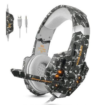 ONETOW ECOOPRO PS4 Gaming Headset Stereo Gaming Headset 3.5mm Noise Isolation Over Ear Headphones LED Lights & In-line Volume Control with Mic Microphone for PS4 PC MAC Laptop Xbox One Camouflage