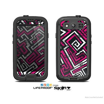 The Pink & White Abstract Maze Pattern Skin For The Samsung Galaxy S3 LifeProof Case