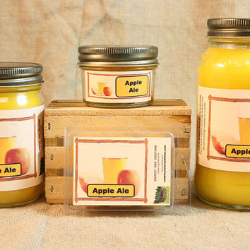 Apple Ale Scented Candle, Apple Ale Scented Wax Tarts, 26 oz, 12 oz, 4 oz Jar Candles or 3.5 Clam Shell Wax Melts
