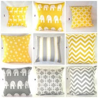 "Easter Decor Yellow Gray Pillows Decorative Pillows  Children Pillow Covers Accent Pillows Nursery Bedding 16"" x 16"" Mix and Match"