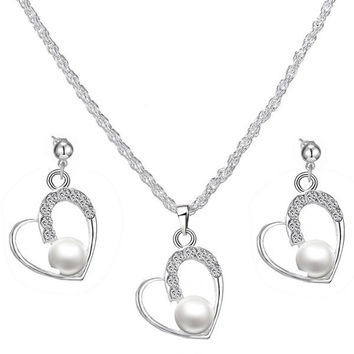A Suit of  Faux Pearl Rhinestone Heart Necklace and Earrings