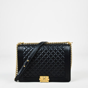 "Chanel Black Quilted Leather 'CC' Large ""Boy"" Flap Shoulder Bag,ladies Classic purse& purses"