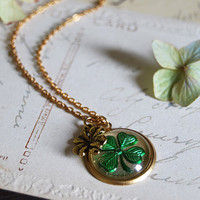 Vintage Shamrock Lucky Clover Intaglio Glass Cabochon, Brass Shamrock Charm Necklace , West Germany Cabochon. St Patrick Day
