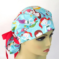 Women's Bouffant Scrub Hat or Cap  Head Cover Hospital Hat Pony Tail Colorful Mermaids