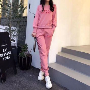 DCCKVQ8 Burberry' Women Casual Fashion Embroidery Letter Long Sleeve Cotton Sweater Trousers Set Two-Piece Sportswear