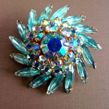 Aqua Blue Navettes ABs JUDY LEE Brooch, Swirl, Gold Trim, Vintage