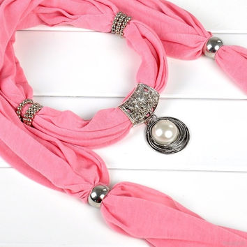 Women's Pearl With Rhinestones Pendant Scarf Jewelry Tassels Beads Cotton Soft Necklace Scarves = 1930049860