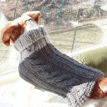 Dog Sweater Hand Knit Classic Cable Grey Medium Merino by jenya2