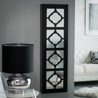 Belham Living Lighted Locking Quatrefoil Wall Mount Jewelry Armoire - High Gloss Black | www.hayneedle.com