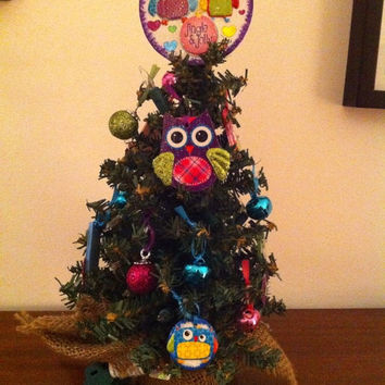 Owl Christmas tree 12 inch with light pre-decorated with Owl ornaments