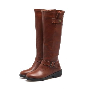 New Women Chunky Low Heel Riding Boots