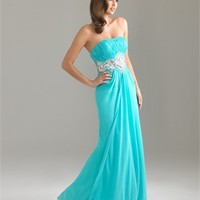 Strapless Beaded Empire Ruched Bodice Floor Length Chiffon Prom Dress PD1866 Dresses UK