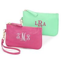 Leatherette Wristlet  with Embroidered Monogram