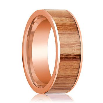 Mens Wedding Band Polished Flat 14k Rose Gold Wedding Ring with Red Oak Wood Inlay  - 8mm