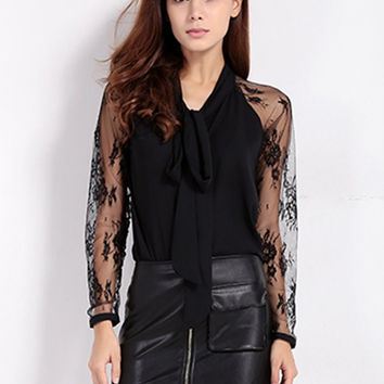 Women Casual Lace Stitching Bow Knot Loose Turn-down Collar Long Sleeve Blouse