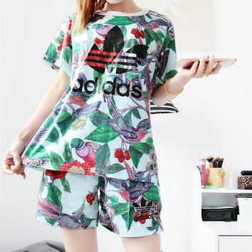 """Adidas"" Women Sports Casual Bird Leaves Pattern Print Short Sleeve Shorts Set Two-Pie"