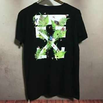OFF-WHITE spring and summer new jungle insect grass Tee couple models loose round neck short sleeve F-XMCP-YC