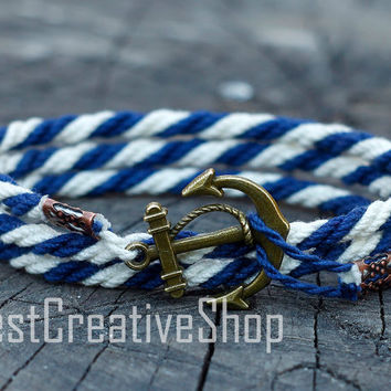 SALE! Anchor Bracelet / Blue White Bracelet / Sea Nautical Cotton Bracelet / Marine Rope Bracelet / Mens Bracelet Women / Men Rope Bracelet