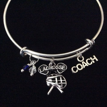 Lacrosse Coach Silver Expandable Adjustable Wire Bangle Bracelet Gift
