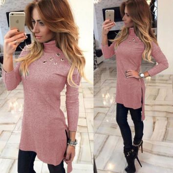 Women Sweaters Pullovers Jumpers 2017 Winter Autumn Turtleneck Office Casual Streetwear Bodycon Vestido  Donna Clothing WS2522Y