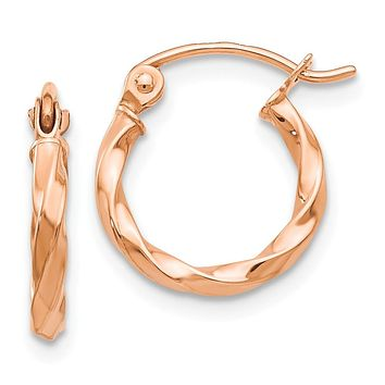 2mm x 13mm 14k Rose Gold Small Twisted Round Hoop Earrings