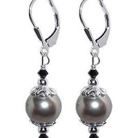 SCER034 Sterling Silver Simulated Pearl Drop Earrings Made with Swarovski Elements