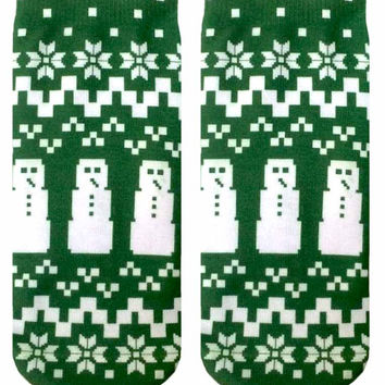 Ugly Sweater Snowman Ankle Socks