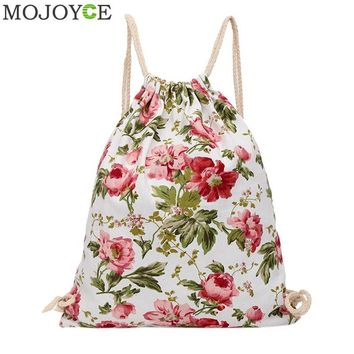 2017 New Women Casual Drawstring Bag Flower Printed Backpack Travel Bag Sackpack Beach Bags Girls Ladies School Fresh Backpacks