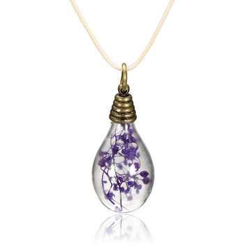 Light Bulb Dry Flower Glass Pendant Chain Necklace