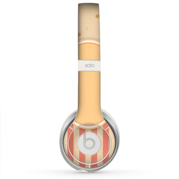 The Bright Glossy Gold Polka & Striped Label Skin for the Beats by Dre Solo 2 Headphones