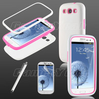 White/Pink Triple Layer Hybrid Hard Case Cover for Samsung Galaxy III S3 i9300