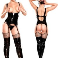 Sexy Black Cupless Lingerie Set - Large/Extra Large