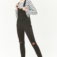 Skinny Distressed Overalls