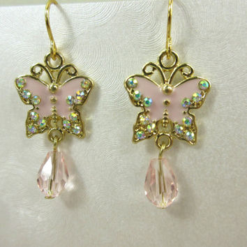 Pink Butterfly Earrings, Rhinestone Butterfly Earrings, Gold and Pink Earrings