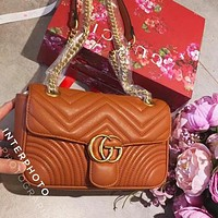 Gucci Trending Women Stylish Shopping Bag Leather Metal Chain Crossbody Satchel Shoulder Bag Brown I-WXZ2H