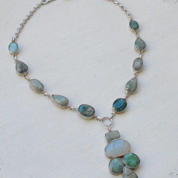 Green Turquoise Necklace - Stone Necklace - Silver Link Necklace - Statement Necklace - Bib Collar Necklace - Chunky Necklace
