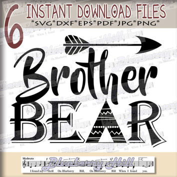 Brother bear SVG - Brother svg digital - Brother Bear with Arrow - Brother bear clipart - Brother SVG - DIY- Svg - Dxf- Eps - Png -Jpg - Pdf