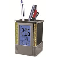 Square Pen Holder with Alarm Clock