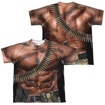 Six Pack Abs with Bullets Costume Kids T-shirt Front & Back