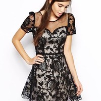 Chi Chi London Sweetheart Prom Dress in Sheer Lace Overlay