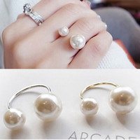 Adjustable Double Pearl Ring (White)