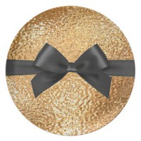 Christmas Gold and Black Bow Design Dinner Plate
