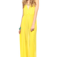 Yellow Sunshine V Neck Tulip Maxi Dress