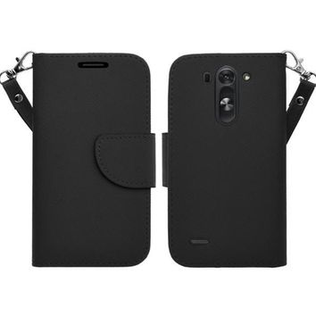 LG G3 s   LG G3 mini   LG G3 Beat   LG G3 Vigor   LG D725   LG D722 Case, Wrist Strap Flip Folio [Kickstand Feature] Pu Leather Wallet Case with ID & Credit Card Slots - Black