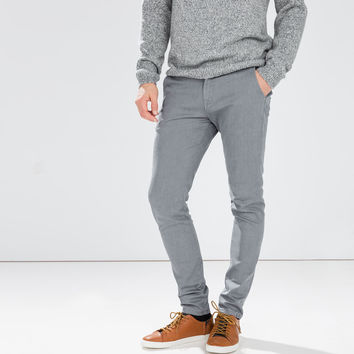 Chino-style coated jeans
